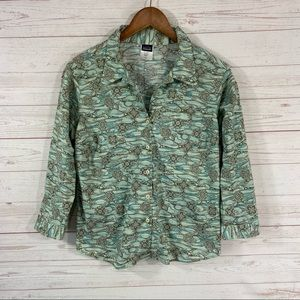 Patagonia Button Front 3/4 Roll Tab Sleeve Blouse